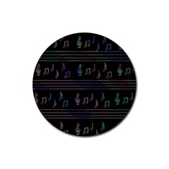 Music pattern Rubber Round Coaster (4 pack)