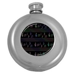 Music pattern Round Hip Flask (5 oz)