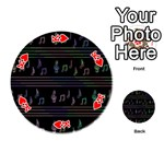Music pattern Playing Cards 54 (Round)  Front - HeartK
