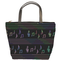 Music pattern Bucket Bags