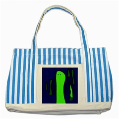Green snakes Striped Blue Tote Bag