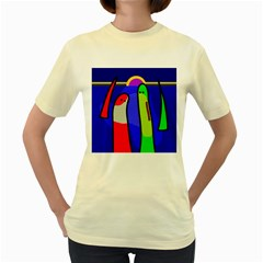 Colorful snakes Women s Yellow T-Shirt