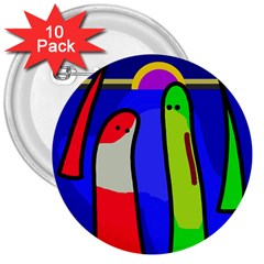 Colorful snakes 3  Buttons (10 pack)