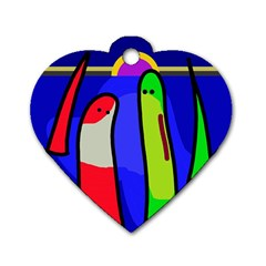 Colorful snakes Dog Tag Heart (Two Sides)