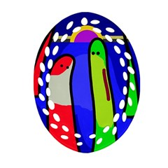 Colorful snakes Oval Filigree Ornament (2-Side)