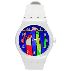 Colorful snakes Round Plastic Sport Watch (M)