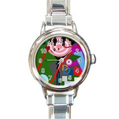 Party Round Italian Charm Watch