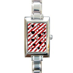 Black and red harts Rectangle Italian Charm Watch