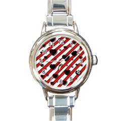 Black And Red Harts Round Italian Charm Watch