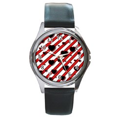 Black and red harts Round Metal Watch