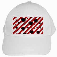 Black and red harts White Cap