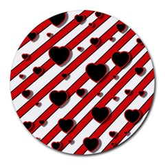 Black and red harts Round Mousepads