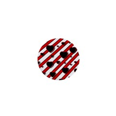 Black and red harts 1  Mini Buttons