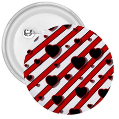 Black and red harts 3  Buttons