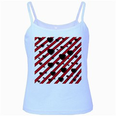 Black and red harts Baby Blue Spaghetti Tank