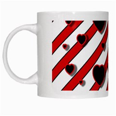 Black and red harts White Mugs