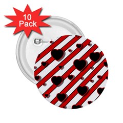 Black and red harts 2.25  Buttons (10 pack)