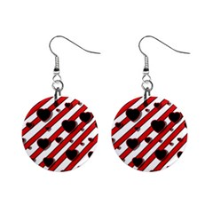 Black And Red Harts Mini Button Earrings