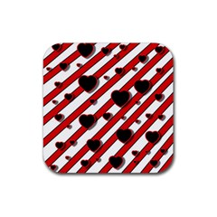 Black and red harts Rubber Square Coaster (4 pack)