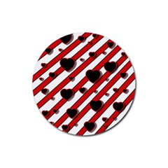 Black and red harts Rubber Coaster (Round)