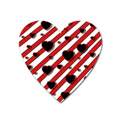 Black and red harts Heart Magnet