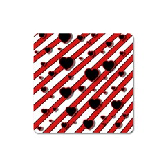 Black and red harts Square Magnet