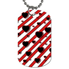 Black and red harts Dog Tag (Two Sides)