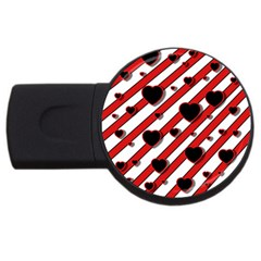 Black and red harts USB Flash Drive Round (1 GB)