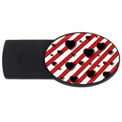 Black and red harts USB Flash Drive Oval (1 GB)