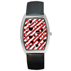 Black and red harts Barrel Style Metal Watch