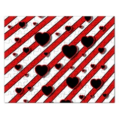 Black and red harts Rectangular Jigsaw Puzzl
