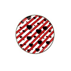 Black and red harts Hat Clip Ball Marker
