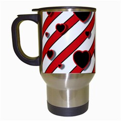 Black and red harts Travel Mugs (White)