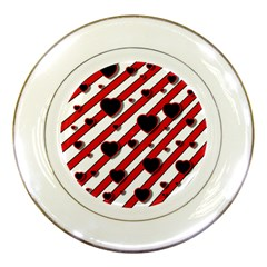 Black and red harts Porcelain Plates