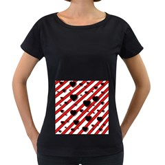 Black and red harts Women s Loose-Fit T-Shirt (Black)