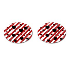 Black and red harts Cufflinks (Oval)