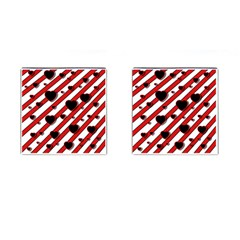Black and red harts Cufflinks (Square)