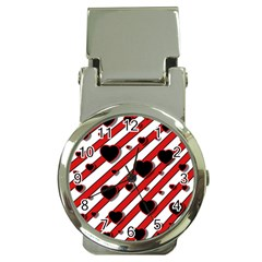 Black and red harts Money Clip Watches