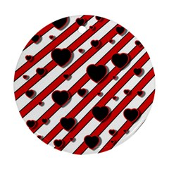 Black and red harts Round Ornament (Two Sides)