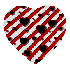 Black and red harts Heart Ornament (2 Sides)