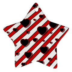 Black and red harts Star Ornament (Two Sides)