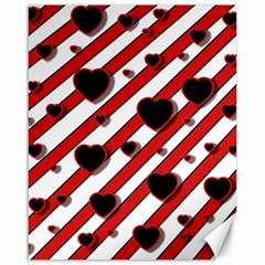 Black and red harts Canvas 16  x 20