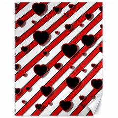 Black and red harts Canvas 18  x 24