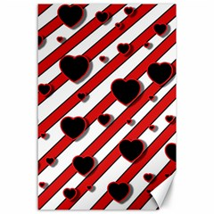 Black and red harts Canvas 24  x 36
