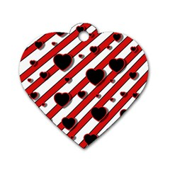 Black and red harts Dog Tag Heart (Two Sides)