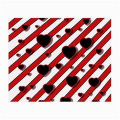 Black and red harts Small Glasses Cloth (2-Side)