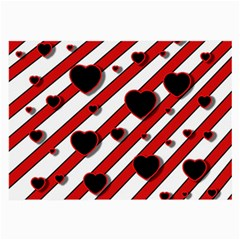 Black and red harts Large Glasses Cloth (2-Side)