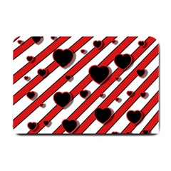 Black and red harts Small Doormat