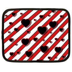 Black and red harts Netbook Case (Large)