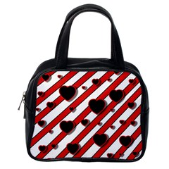 Black and red harts Classic Handbags (One Side)